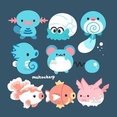 Some water types Cute Pokemon Wallpaper, Cute Cartoon Wallpapers, Animes Wallpapers, Cute Animal Drawings, Kawaii Drawings, Cute Drawings, Kawaii Doodles, Cute Doodles, Pokémon Kawaii