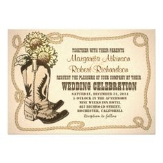 cowboy boots western country rustic wedding invitations with sunflowers