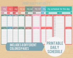 Printable Daily Planner Page - Includes 8 different colors