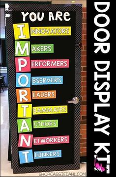 You Are Important (Door Kit) Decorate your classroom door with an inspirational message. All of the pieces are easy to cut and the display fits perfectly on a classroom door or you can use it on a bulletin board! Perfect for back to school or anytime throughout the school year.<br> Classroom Door Displays, School Displays, Classroom Bulletin Boards, Classroom Rules, New Classroom, Preschool Classroom, Classroom Themes, Classroom Organization, Classroom Door Decorations