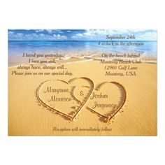 """Wedding Venue Ideas Names in Hearts on the Beach Wedding Invitation - This design has matching items. It also comes as a vertical invitation. See them in my """"Sand Teal Wedding Invitations, Rehearsal Dinner Invitations, Wedding Invitation Templates, Rehearsal Dinners, Invites, Party Invitations, Invitation Envelopes, Invitation Wording, Invitation Ideas"""