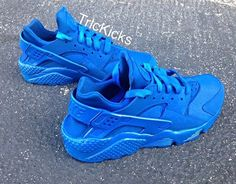 Nike Air Huarache Customs Blue by TricKicks on Etsy