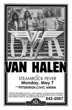 Pop Rock, Rock And Roll, Tour Posters, 80s Posters, Event Posters, Rock Band Posters, Vintage Music Posters, Eddie Van Halen, Rock Concert