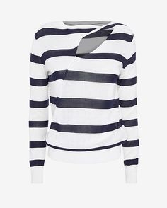 A.L.C. Robinson Cut Out Neckline Sweater: A purposeful cut out at the neckline lends your layered look a deconstructed feel. Long sleeves. In navy/white stripes. Fabric: 100% cotton Model Measurements: Height 5'10; Waist 25 ; Bust 34 wearing size S Length from shoulder to hem: 24 Made in ...