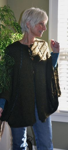 """Just finished.  It's a buttoned cape/jacket/poncho in Ultra Alpaca.  Used   cherry wood tree buttons (via """"a Remark You Made"""" Etsy shop) and they're perfect!"""