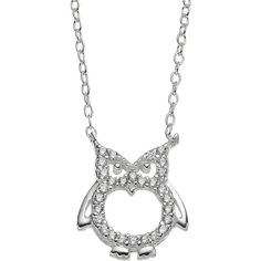 Cubic Zirconia Sterling Silver Openwork Owl Necklace ($24) ❤ liked on Polyvore featuring jewelry, necklaces, owl, grey, owl jewelry, sterling silver jewelry, cz jewellery, cz necklace and grey necklace