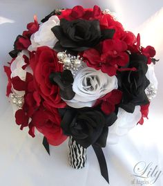 Model: REBK08  This wedding flower package is made with natural looking Red, Black and White open Roses, Red and Black hydrangeas accented with