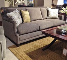 Century sofa with multiple fabric, cushion, and trim choices available