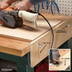 Here's a simple add-on that can do double duty as a stop or outfeed support for your miter saw. Elevate the sliding piece of plywood slightly above the work surface and use it to keep your work from sliding backward while you're belt sanding. Or adjust it upward to match the height of your miter saw bed and use it as a support for long stock. Cut a piece of plywood 8 in. wide x 20 in. long. Then mark 3/8-in.-wide slots 2 in. from each end and 1 in. from the top and bottom. Drill 3/8-in…