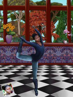 Portrait personnalisé sur le thème de la danse.  www.portrait-perso.com