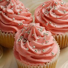 Beautiful sparkly pink cupcakes