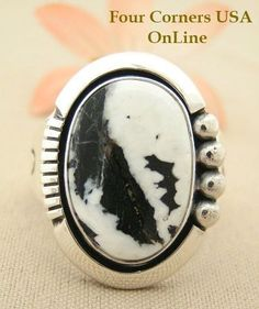 Four Corners USA Online Native American Artisan Jewelry - Men's White Buffalo Turquoise Ring Size 13 Native American Indian Silver Jewelry NAR-1480 $254.00 (