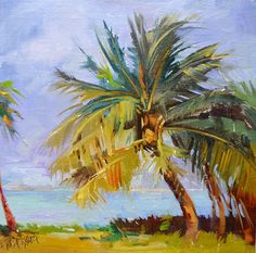 Off The Grid, tropical landscape in oil, painting by artist Mary Maxam Landscape Art, Landscape Paintings, Watercolor Paintings, Tree Paintings, Beach Paintings, Landscape Plans, Watercolors, Landscape Design, Garden Design