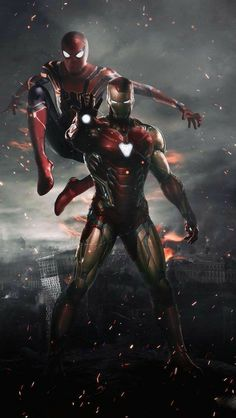 Spiderman and Ironman HD Wallpaper - Avengers Endgame Iron Man Avengers, Marvel Avengers, Iron Man Spiderman, Marvel Dc Comics, Marvel Heroes, Captain Marvel, Captain America, Spiderman Spiderman, Amazing Spiderman