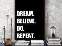 Plakat typograficzny MOTYWACYJNY dream believe  A3