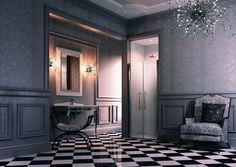 Victoriaans design met de passende douchecabine van Huppe. Furniture, House, Oversized Mirror, Home Decor, Bathroom Mirror, Framed Bathroom Mirror, Bathroom, Fireplace, Victorian