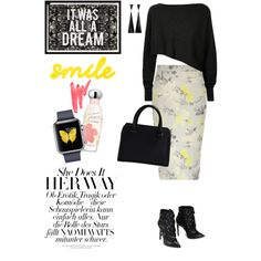 Yellow floral print pencil skirt by lera-chyzh on Polyvore featuring polyvore fashion style Crea Concept Victoria Beckham Ilia Estée Lauder Oliver Gal Artist Co. River Island clothing Winter Skirt Outfit, Skirt Outfits, Winter Outfits, River Island Outfit, Crea Concept, Printed Pencil Skirt, Faux Leather Jackets, Polyvore Fashion, Island Clothing