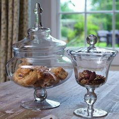 Small & Large Glass Footed Bon Bon Jars - These would look so pretty on my dining table in our kitchen/diner/ Filled with sweets or decorated for events. Sweet Jars, Christmas Jars, Decorated Jars, Jar Storage, Serving Dishes, Baking Ingredients, Soft Furnishings, Glass Jars, Home Accessories