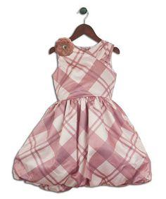 Creme & Rose Plaid Bubble Dress - Toddler & Girls