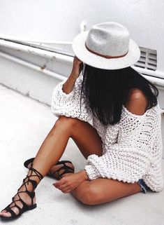 knit + shorts + gladiator sandals.