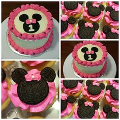1st Birthday Minnie Mouse Smash Cake and Minnie Mouse Cupcakes.