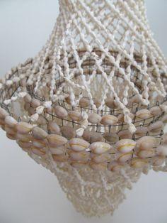 Vintage Seashell Macrame Hanging  Cowry Shell Art 1960s Beach