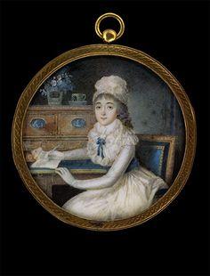 Young Lady at a Desk, Pierre-André Le Suire, circa 1790