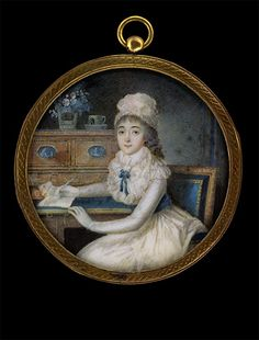 Young Lady at a Desk, Pierre-André Le Suire, circa 1790.