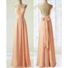 Chiffon Prom Dresses Spaghetti Straps with Back Bowknot pst0152