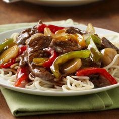 For dinner. Beef Teriyaki and Peppers. Add in some white rice and some mixed veggies like broccoli and carrots and onions, and then just keep the peppers for the flavor.