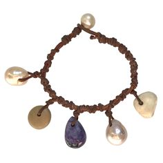 Fine Pearls and Leather Jewelry by Designer Wendy Mignot Gypsy Caspian Mixed Charm Bracelet
