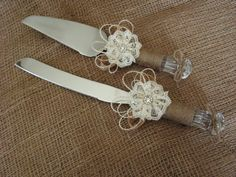 rustic wedding cake knife burlap and lace wedding by Mydaisy2000