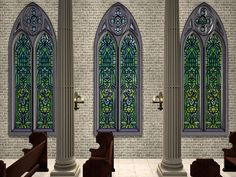 Sims Medieval, Elves Fantasy, Church Windows, Sims 2, Stained Glass, Cottage, Building, Design, Elf