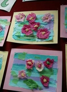 Lilies in a pond using tissue paper - Monet Water Lilies in a pond using tissue paper Effektive Bilder, die wir über healthy eating anb - Art Lessons For Kids, Art Lessons Elementary, Art For Kids, Spring Art Projects, School Art Projects, Kindergarten Art, Preschool Art, Tissue Paper Art, Montessori Art