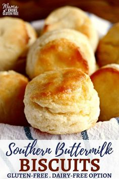 An easy gluten-free biscuits recipe made Southern style with buttermilk. Flaky and tender. With a dairy-free option. An easy gluten-free biscuits recipe made Southern style with buttermilk. Flaky and tender. With a dairy-free option. Dairy Free Biscuits, Vegan Biscuits, Milk Free Biscuit Recipe, Gluten Free Buttermilk Biscuits Recipe, Recipe For Homemade Biscuits, Egg Free Bread Recipe, Recipes With Buttermilk, Flakey Biscuits, Almond Flour Biscuits