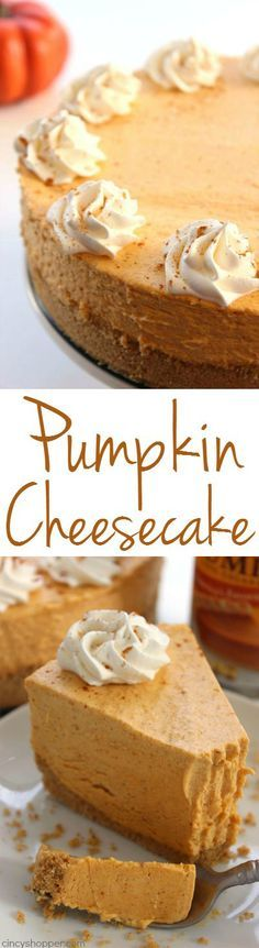 No Bake Pumpkin Cheesecake -Super easy fall and Holiday dessert. Pumpkin dessert that looks and tastes like a million bucks.