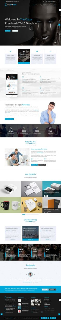 The Corps is multipurpose Bootstrap HTML5 Template. This template is designed for all types of businesses such as Corporate, Business, Portfolio, Creative, Blog, Agency and many more.