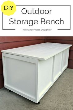 Woodworking Furniture Diy This outdoor storage bench serves as seating and storage on our small front.Woodworking Furniture Diy This outdoor storage bench serves as seating and storage on our small front Diy Projects Cans, Bench With Storage, Outdoor Storage Box, Diy Outdoor Furniture, Diy Outdoor, Diy Furniture, Outdoor Storage Bench, Diy Storage, Diy Storage Bench