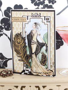 Art Deco Thank You card - Papermania Art Deco http://www.macrafts.com/store/product/14027/A4-Decoupage-Card-Kit-Art-De/
