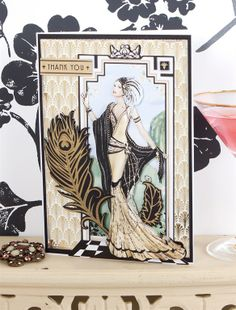 Art Deco Thank You card - Papermania Art Deco http://www.macrafts.com/store/product/14027/A4-Decoupage-Card-Kit-Art-De/