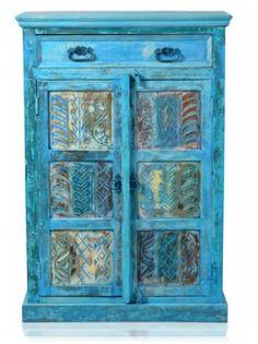 Blue old wood high chest 82x120x40cm teak