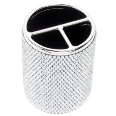 Clear Silver Crystal Rhinestone Bling Embellished Office Pen Pencil Holder