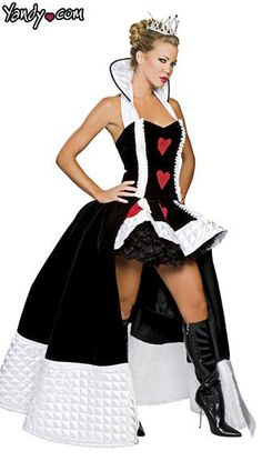 Plus size, Enchanting Queen of Hearts sexy, three-piece, Halloween costume includes gown with ruffled detail, skirt with ruffled seams and heart prints on the front and crown. Made in the USA.