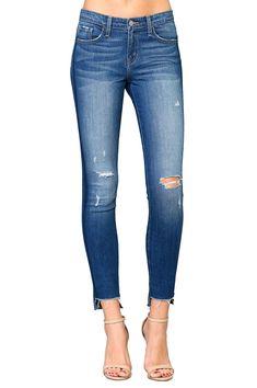 JXG Women Distressed Ripped Stylish Slim Mid Rise Denim Jeans Pants