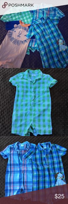Gymboree boy rompers 18-24mo Bundle of four boy rompers from Gymboree. Super cute and in great condition. The plaid rompers just need a little ironing - only worn once or twice each because my son is growing so fast! Gymboree One Pieces Bodysuits