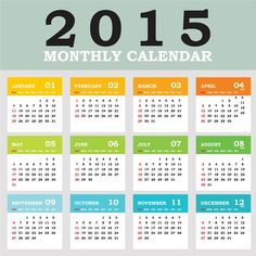 2015 grid calendar creative design vector 04