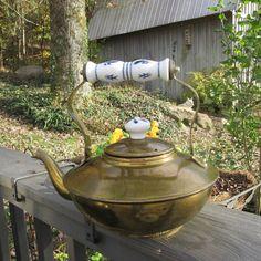 Vintage Brass Tea Kettle Blue and White Kitchen by SimplySuzula #EtsyGifts