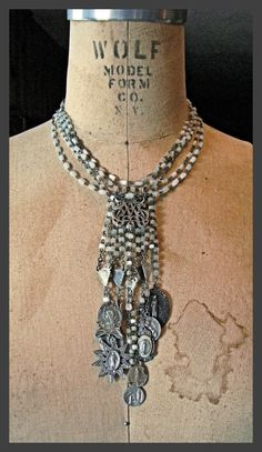 Mother of Pearl Cascade Bib Necklace by thesacredmaiden on Etsy