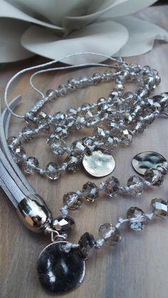 Halskette Silber Quaste. Silber Perlen Quaste Halskette.  Hand geknotete Quaste Halskette.  Funkelnde Quaste Halskette.