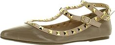Wild Diva Womens Fashion Pippa 35 Studs Pointy T Bar Flats ShoesNatural Patent6 * Want additional info? Click on the image.